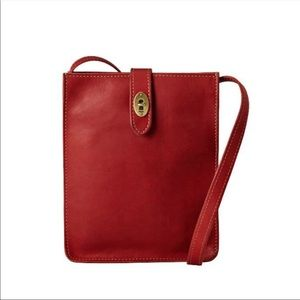 Fossil Red Leather Turnlock Crossbody